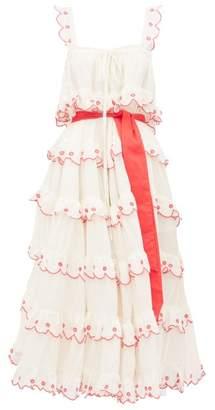 Innika Choo Iva Biigdres Tiered Embroidered Cotton Midi Dress - Womens - Cream