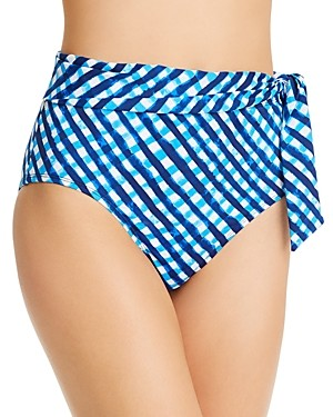Tommy Bahama Gingham High-Waist Bikini Bottom
