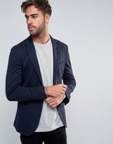 Asos Super Skinny Jersey Blazer In Navy