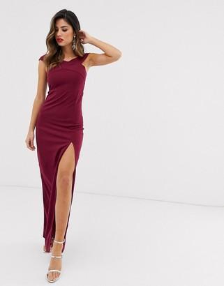 AX Paris bardot thigh split maxi dress-Purple