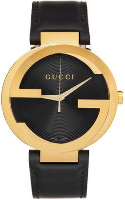 Gucci Black and Gold Interlocking G Watch