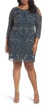 Pisarro Nights Plus Size Women's Embellished Cold Shoulder Dress