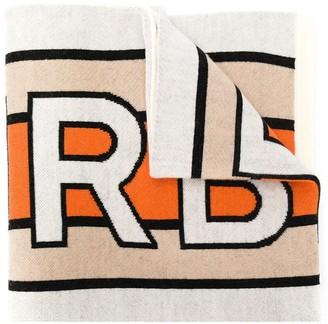 BURBERRY KIDS Football logo-intarsia scarf