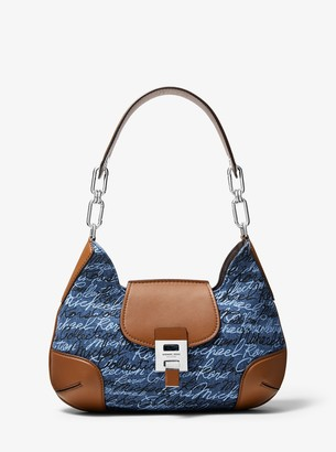 Michael Kors Bancroft Medium Signature Print Denim Shoulder Bag