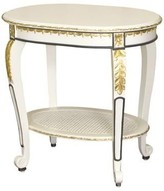 The Well Appointed House Sandrine End Table in Antico White with Navy and Gold Gilding