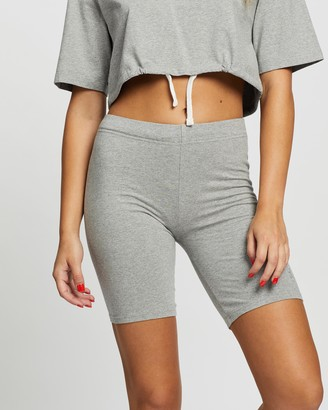 Les Girls Les Boys Women's Grey High-Waisted - Jersey Apparel Tight Shorts - Size S at The Iconic