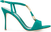 Sergio Rossi gold-tone detail sandals - women - Cotton/Leather/Metallic Fibre - 38