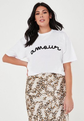 Missguided Plus Size White Amour Graphic Graphic T Shirt