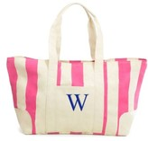 Cathy's Concepts Monogram Stripe Canvas Tote - Pink