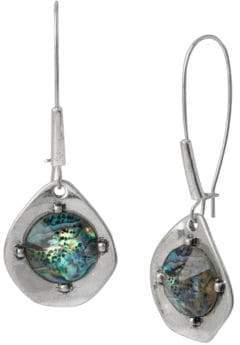 Robert Lee Morris Blue Dimensions Silvertone Abalone Drop Earrings
