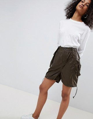 Asos DESIGN parachute ruched shorts