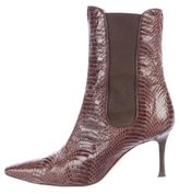 Manolo Blahnik Python Pointed-Toe Ankle Boots