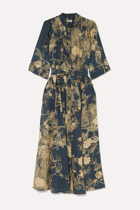 Dries Van Noten Darette Floral-print Silk Crepe De Chine Midi Dress - Dark gray