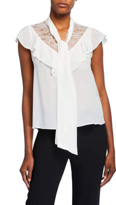 Alice + Olivia Terry Tie-Neck Ruffle Blouse