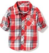 Old Navy Plaid Poplin Rolled-Sleeve Shirt for Toddler Boys
