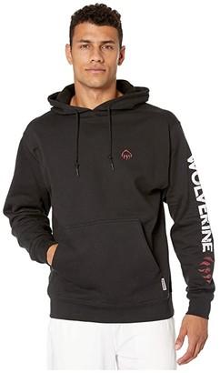 Wolverine Graphic Hoodie Distressed Logo (Black) Men's Clothing