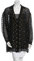 Lanvin Metallic-Accented Sheer Tunic