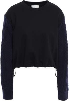 3.1 Phillip Lim Cable Knit-paneled French Cotton-terry Sweatshirt