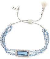 lonna & lilly Silver-Tone Blue Beaded Slider Bracelet