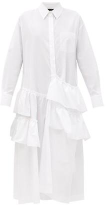 Simone Rocha Asymmetric-ruffled Cotton-poplin Shirt Dress - White