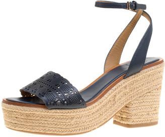 Tory Burch Navy Blue Laser Cut Leather Roselle Espadrille Platform Sandals Size 40