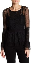 Romeo & Juliet Couture Lace Long Sleeve Ruffled Blouse