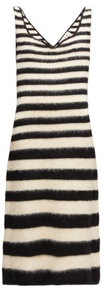 Marni Striped Knitted Wool-blend Midi Dress - Womens - Black White