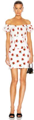 Caroline Constas Calla Mini Dress in White & Red | FWRD