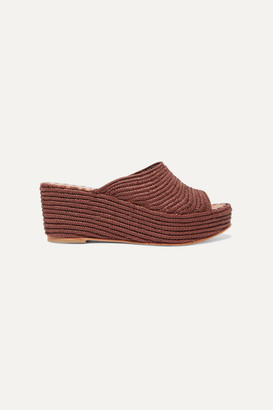 Carrie Forbes Karim Woven Raffia Wedge Sandals - Taupe