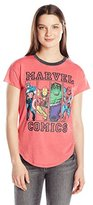 Marvel Junior's Group Shot Burnout Short Sleeve Graphic Fashion Ringer Tee