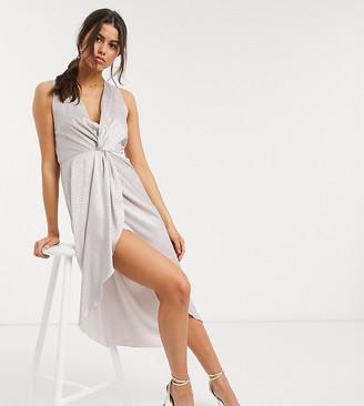 Flounce London sleeveless satin midi dress with twist and drape in champagne