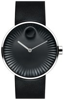 Movado 'Edge' Leather Strap Watch, 40Mm