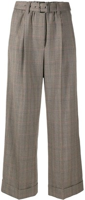 Brunello Cucinelli Plaid Print Wide Leg Trousers