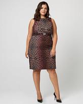 Le Château Leopard Print Gabardine Belted Sheath Dress