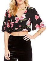 GB Floral Wrap Cropped Blouse