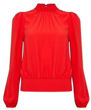 Dorothy Perkins Womens Red Elastic Back Long Sleeve Top, Red