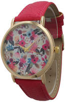 OLIVIA PRATT Olivia Pratt Womens Gold-Tone Multi-Color Floral Print Dial with Hot Pink Leather Strap Watch 14181