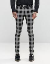 Asos Super Skinny Suit Trousers In Tartan Check