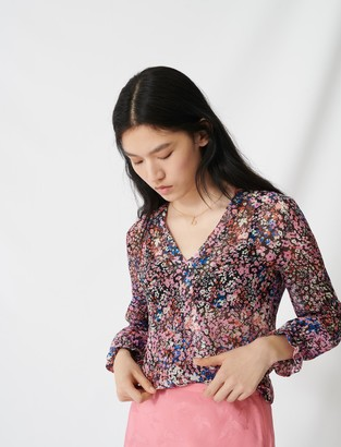 Maje Floral-print silk top