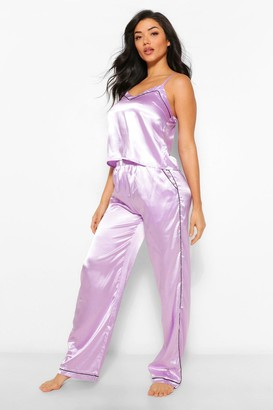 boohoo Brunch Club Embroidered Cami, Trouser + Mask Set