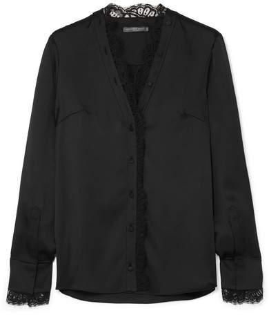 Alexander McQueen Lace-trimmed Silk-satin Blouse - Black
