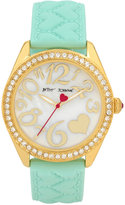 Betsey Johnson Women's Aqua Heart Textured Silicone Strap Watch 40mm BJ00048-171