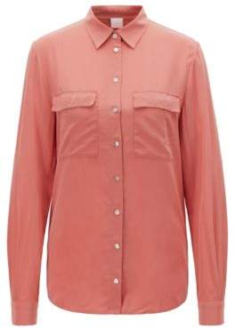 BOSS Regular-fit blouse in sand-washed silk