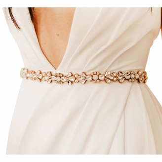 SWEETV Rhinestone Bridal Belt Bridesmaid Sash Crystal Wedding Belt for Prom Dress Evening Gown