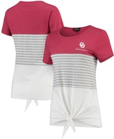 Unbranded Oklahoma Sooners Why Knot Colorblocked Striped Knotted T-Shirt - Crimson