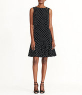 Lauren Ralph Lauren Polka-Dot Crepe Cutout Shoulder Dress
