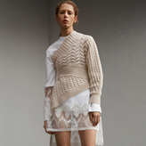 Burberry One-shoulder Cable Knit Cashmere Sweater