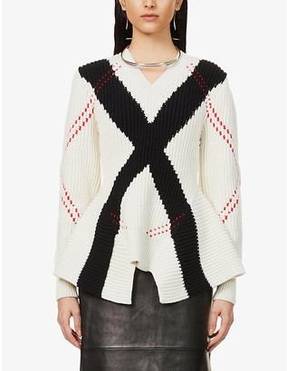 Alexander McQueen Woven-pattern wool and cashmere-blend jumper