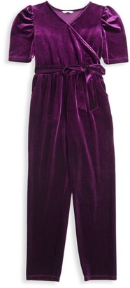 Habitual Little Girl's & Girl's Briella Velour Wrap Jumpsuit