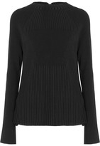 Jason Wu Swiss-dot Lace-paneled Stretch-knit Sweater - Black